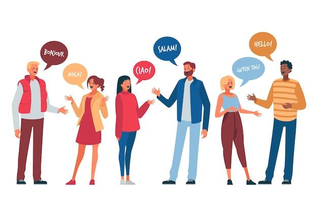 Illustratie met jonge mensen praten