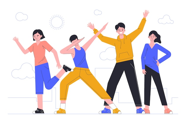 Illustratie met jongeren