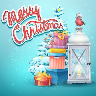 Illustratie met kerstboom, geschenken, zaklamp, goudvink