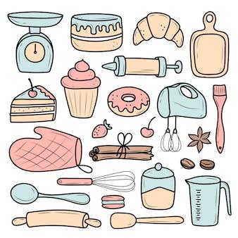 Illustratie met keukenartikelen voor desserts en gebak
