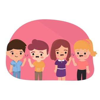 Illustratie met kinderen die hoogte vijf geven