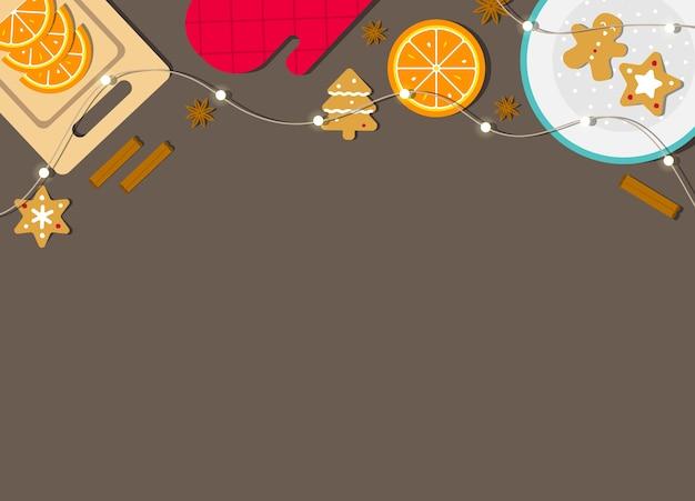 Illustratie met kopie ruimte. kerstmis. peperkoekkoekjes op plant, kaneel