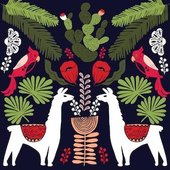 Illustratie met lama en cactus planten.