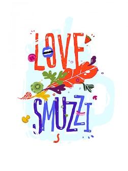Illustratie met liefde smoothie inscriptie.