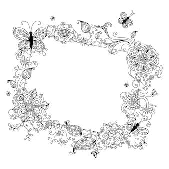 Illustratie met lineaire bloemenelementen en plaats voor uw tekst