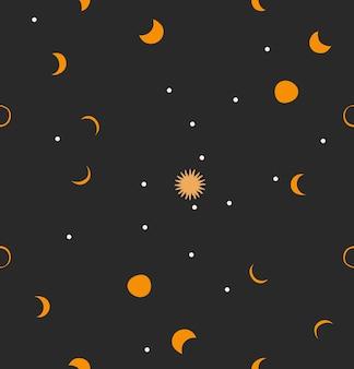 Illustratie met logo-element, boheemse magische kunst naadloos patroon van gouden zon, sterren en maan