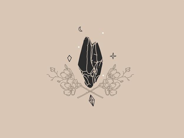 Illustratie met logo-element, bohemien magisch logo van kristalsilhouet, halve maan en bloemen