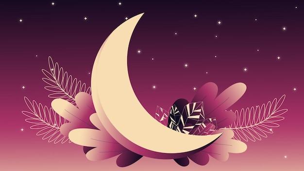 Illustratie met maan en kristallen kosmische foto nachtelijke hemel maanlicht kristal