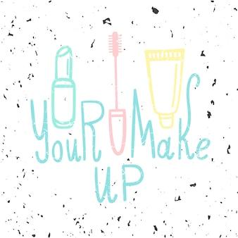 Illustratie met mascara, lippenstift en crème