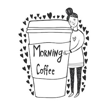 Illustratie met meisje. ochtend koffie. koffie om mee te nemen.