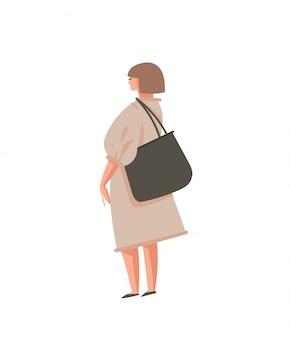 Illustratie met meisje persoon met nul afvalzak geïsoleerd op een witte achtergrond
