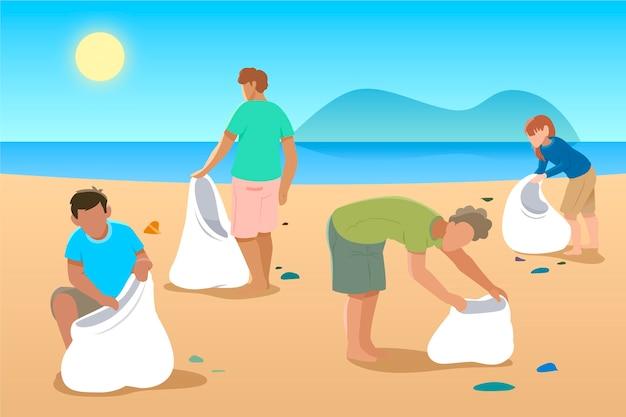 Illustratie met mensen die het strand schoonmaken