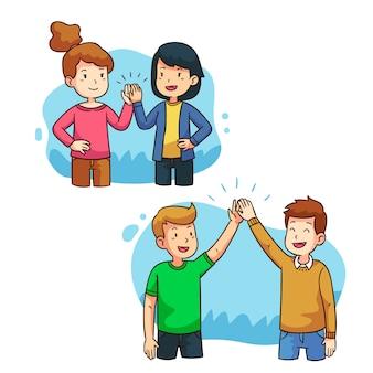 Illustratie met mensen die hoogte vijf geven