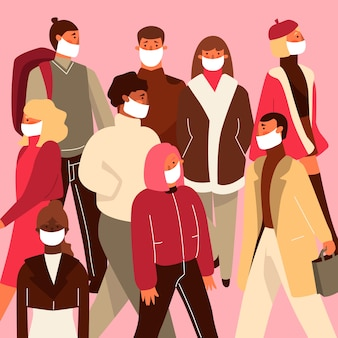 Illustratie met mensen die medisch masker dragen