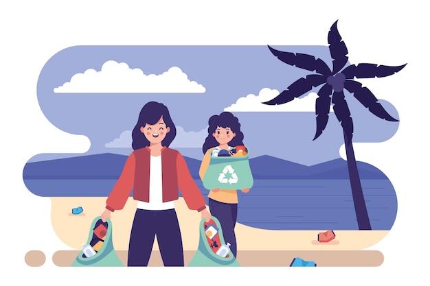 Illustratie met mensen die strand schoonmaken