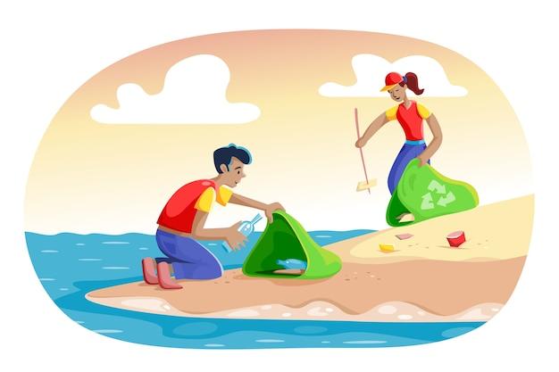 Illustratie met mensen die strandthema schoonmaken
