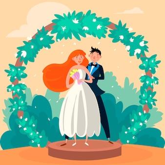 Illustratie met ontwerp van het bruidspaar