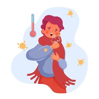 Illustratie met persoon met koude