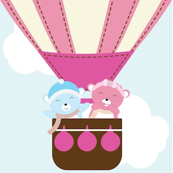 Illustratie met schattige paar beer in hete lucht ballon geschikt voor valentijnsdag kaart