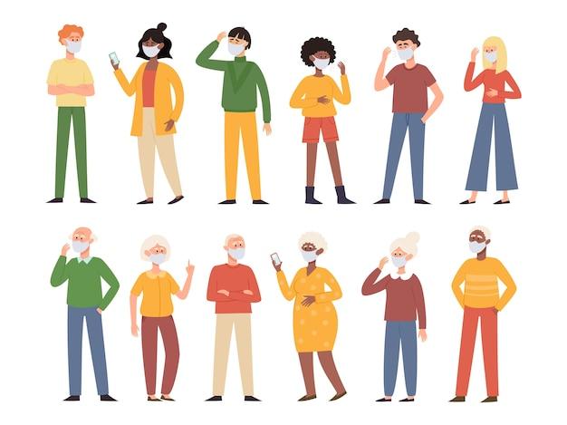 Illustratie met staande oude en jonge mannen en vrouwen