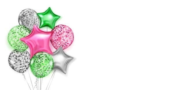 Illustratie met stelletje glanzende ballonnen in de kleuren rood, groen en zilver, rond en in de vorm van sterren, met linten en schaduwen, op witte achtergrond