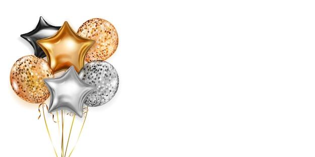 Illustratie met stelletje glanzende ballonnen in gouden, zwarte en zilveren kleuren, rond en in de vorm van sterren, met linten en schaduwen, op witte achtergrond Premium Vector