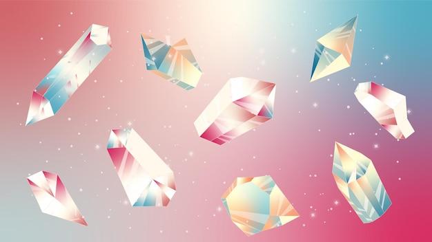Illustratie met sterren en kristallen kosmische foto nachtelijke hemel maanlicht kristal