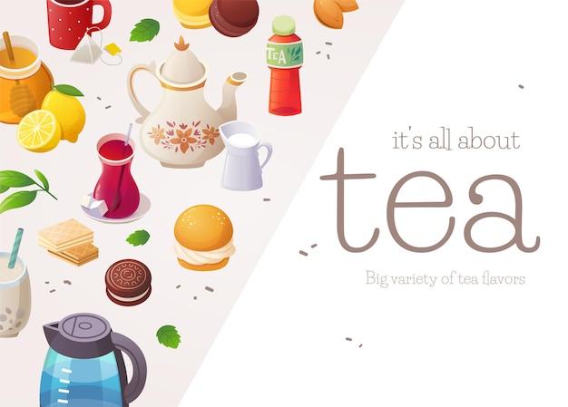 Illustratie met tekst voor promotionele producten van theewinkels of andere producten gerelateerd aan thee of