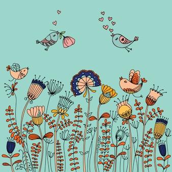 Illustratie met vogels vliegen rond de bloemen