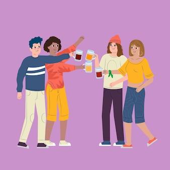 Illustratie met vrienden die samen roosteren