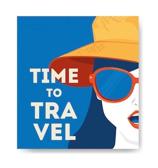 Illustratie met vrouw gezicht reizen