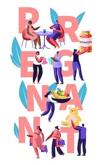 Illustratie met vrouwelijke karakters gelukkige zwangerschap