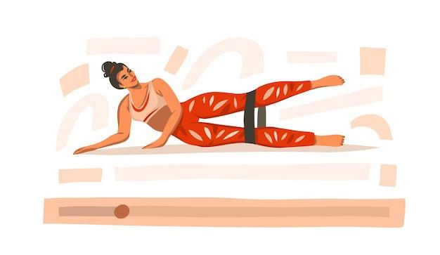 Illustratie met vrouwelijke training thuis met sport rubberen elastieken op video