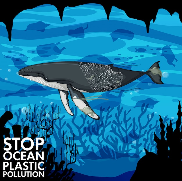 Illustratie met walvis en plastic zakken