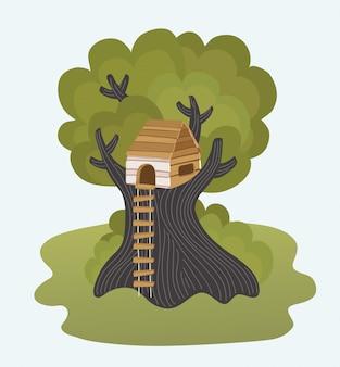 Illustratie met zomer achtergrond, spelende kinderen en boomhut