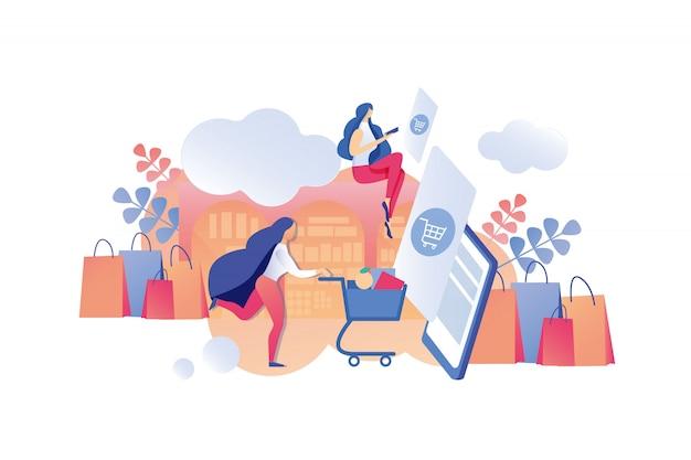 Illustratie mobiele applicatie verkoopinformatie.