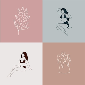 Illustratie mooie vrouwelijke figuur en bloemen