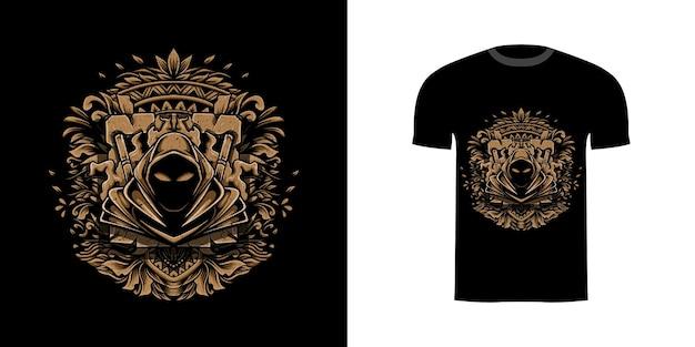 Illustratie moordenaar met gravure ornament voor t-shirt ontwerp