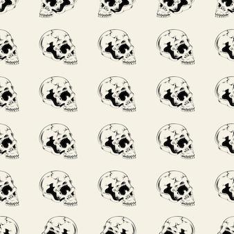 Illustratie naadloos patroon met schedel