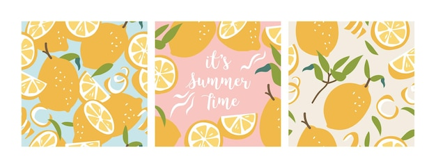 Illustratie naadloze patroon met verse citroenen. kleurrijk zomerbehang. citrusvruchten collectie.