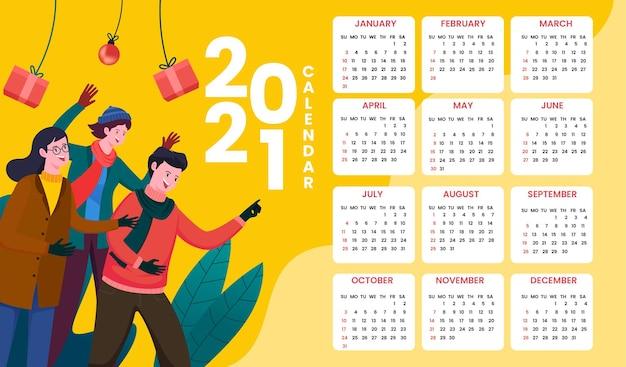 Illustratie nieuwjaar kalendersjabloon met de hele maand