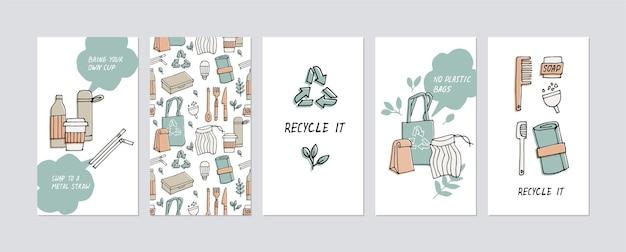 Illustratie nul afval, recyclen, eco-vriendelijke tools, verzameling van ecologie iconen met slogans.