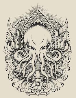 Illustratie octopus met vintage gravure ornament