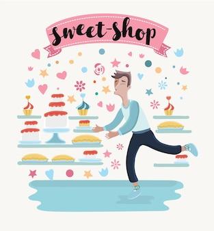 Illustratie ofhappy cartoon man in snoepwinkel banketbakkerij wil vrede van taarten en cupcakes nemen