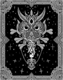Illustratie oni-masker met ornamentstijl
