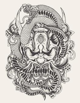 Illustratie oni masker met slang zwart-wit stijl