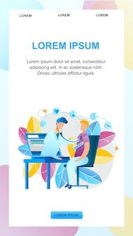 Illustratie online geneeskunde raadpleging arts