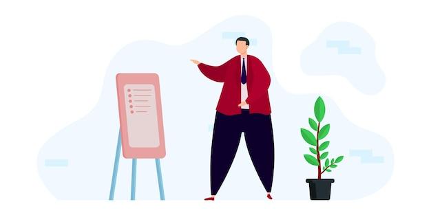 Illustratie ontwerp onderwijs en e-learning thuis door webinar training, man presentatie