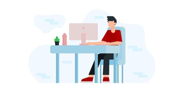 Illustratie ontwerp online onderwijs en e-learning thuis door webinar training en ontwerp voor webinar, online videotraining, tutorial podcast en business coaching concept. werk illustratie
