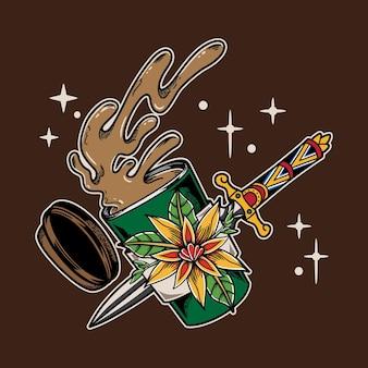 Illustratie ontwerp vintage koffiekopje met mes in platte traditionele tattoo-stijl